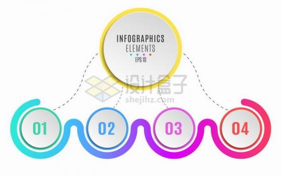 彩色圆形按钮序列号组织结构图PPT信息图表png图片免抠矢量素材