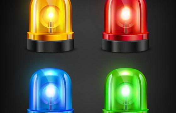 四种颜色的黄红蓝绿报警灯图片免抠矢量素材
