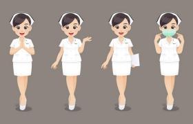 4款超可爱卡通医生护士造型走路戴口罩等png图片免抠矢量素材