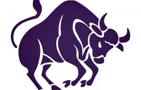 紫色一头牛金牛座星座图片免抠素材