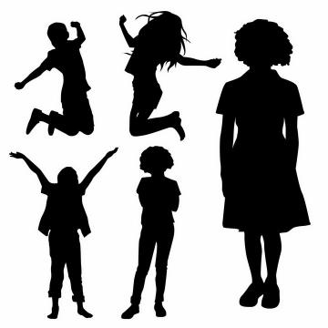 兴高采烈得跳跃起来的孩子儿童剪影png图片免抠矢量素材