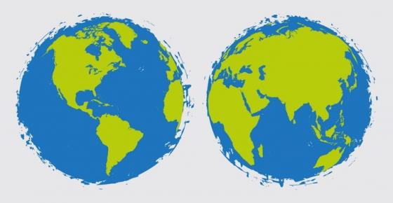 创意绿色大陆蓝色海洋世界地图涂鸦地球图片免抠矢量素材