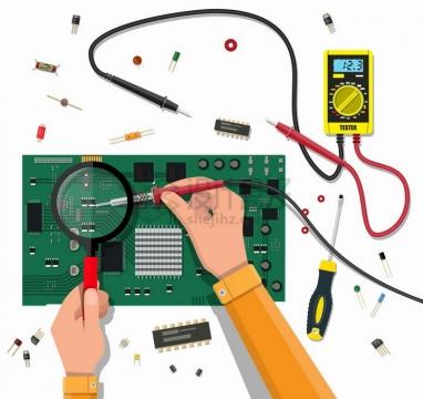 万能表检测维修电路板png图片免抠矢量素材