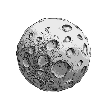 手绘风格充满陨石坑的月球外星球免抠矢量图素材