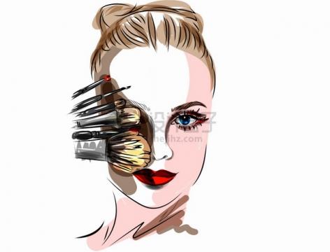 各种化妆工具和美女头像彩绘画像png图片素材