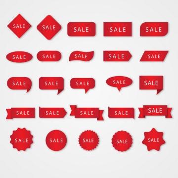 25款各种形状的红色促销降价标签图片免抠矢量素材