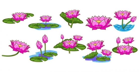 10款卡通风格的莲花荷花图片免抠素材