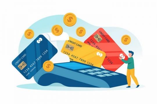 扁平插画风格在POS机上刷信用卡银行卡的年轻人png图片免抠矢量素材