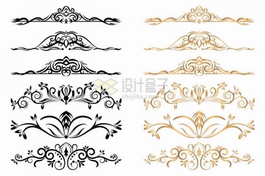 6款黑色金色伸展的树枝花纹png图片免抠矢量素材