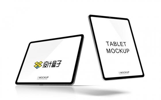 不同角度的两款苹果iPad Pro平板电脑展示样机图片设计模板素材