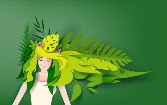 创意剪纸叠加风格绿色树叶组成头发的少女png图片免抠矢量素材