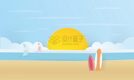 剪纸叠加沙滩海洋帆船太阳日出和白云png图片免抠矢量素材