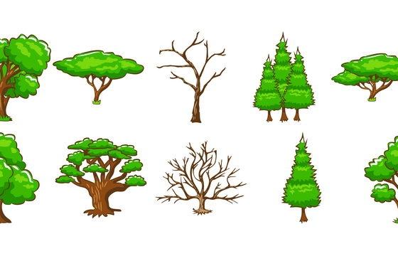 10款卡通风格的树木大树图片免抠素材