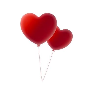 两个深红色爱心心形气球图片免抠素材