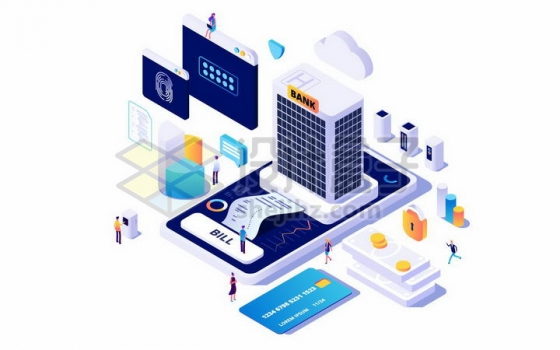2.5D风格手机上的银行大楼银行卡信用卡等手机银行支付png图片免抠矢量素材