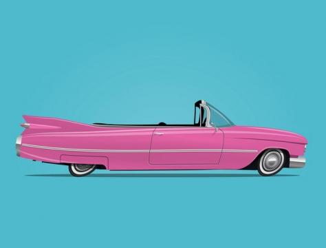 粉色卡通敞篷跑车汽车免抠矢量图素材