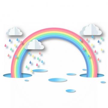 卡通剪纸风格的七彩虹和下雨的云朵195833png图片素材