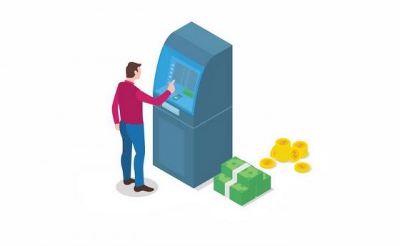 2.5D风格正在银行ATM机上取钱的男人旁边还有美元和金币png图片免抠eps矢量素材