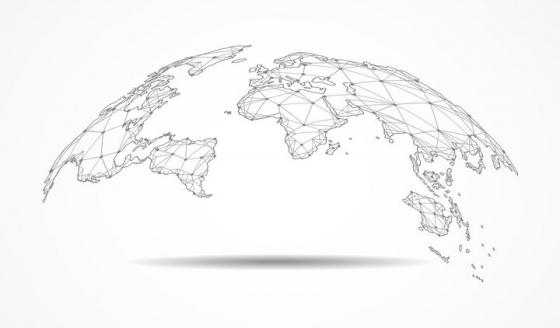 半圆形的点线三角形组成的世界地图地球图案图片免抠矢量素材