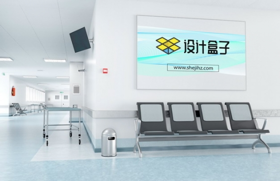 医院走廊长椅后面的广告牌画面psd样机图片模板素材