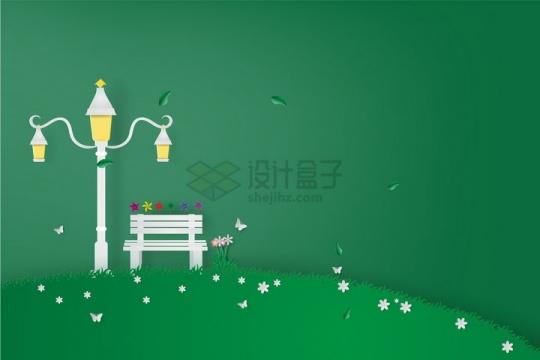 创意剪纸叠加风格青草地山坡和路灯长椅等png图片免抠矢量素材
