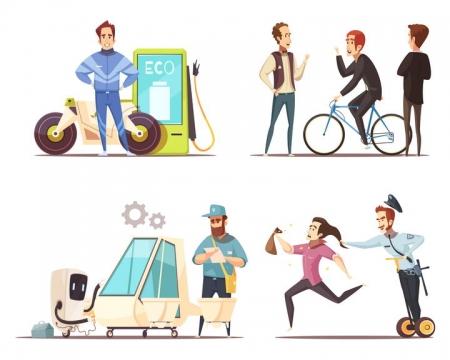 电动摩托车自行车电动汽车平衡车等绿色交通工具图片免抠矢量素材