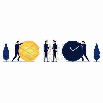 扁平插画商务人士推着金币和时钟png图片免抠矢量素材