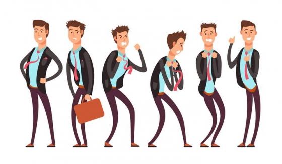 卡通风格各种情绪的上班族商务人士免扣图片素材