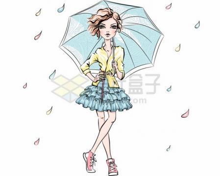 卡通美少女撑着雨伞摆着pose时尚女孩210856png图片素材