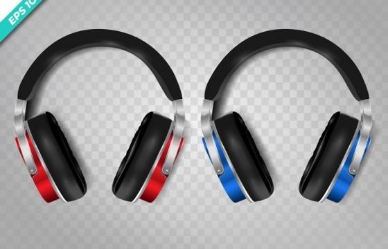 两款蓝色红色的头戴式耳机耳麦图片免抠素材