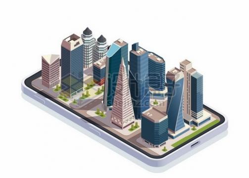 2.5D风格手机上的城市建筑摩天大楼高楼大厦606415png矢量图片素材