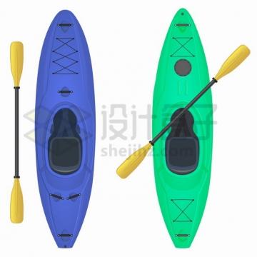 紫色绿色皮划艇和船桨俯视视角png图片素材