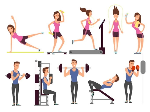 卡通风格健身房中的健身男女免扣图片素材