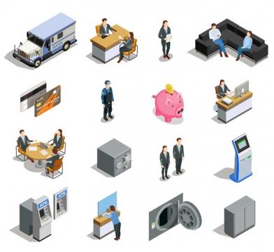 2.5D风格押运车运钞车信用卡ATM机等银行设备图片免抠矢量素材