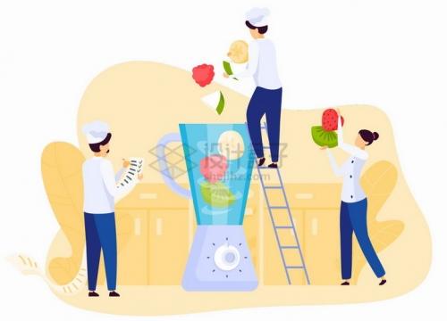 厨师爬梯子将水果扔进榨汁机中制造果汁扁平插画png图片免抠矢量素材