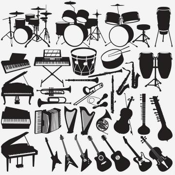 架子鼓钢琴吉他等音乐乐器剪影图片免抠素材