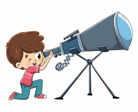 正在用天文望远镜观测的卡通小男孩png图片免抠矢量素材