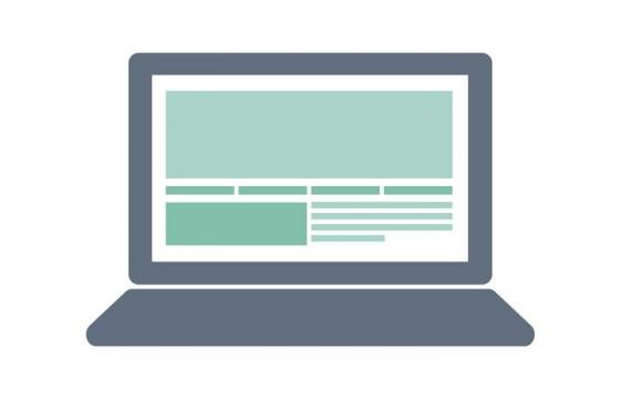 扁平化风格打开的笔记本电脑免扣图片素材