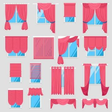 16款不同风格的红色窗帘家居类图片免抠素材