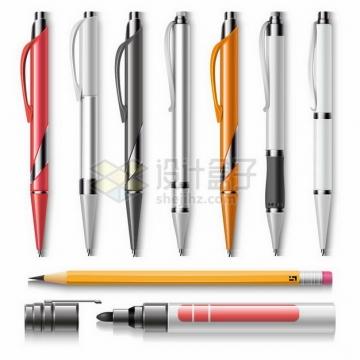 各种彩色的圆珠笔和铅笔黑板水笔png图片免抠矢量素材