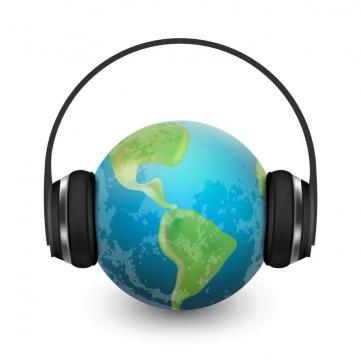 抽象风格给地球戴上耳机音乐无极限图片免抠素材
