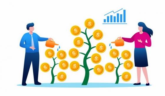 扁平插画风格正在给金币树浇水的商务人士象征了投资和收益png图片免抠矢量素材