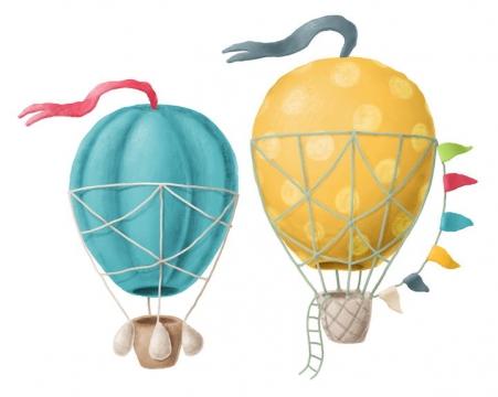 两款捏橡皮泥手工制作的热气球作品图片设计模板素材