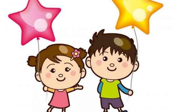 手绘卡通风格两个可爱的小朋友拿着五角星气球图片儿童节免抠素材