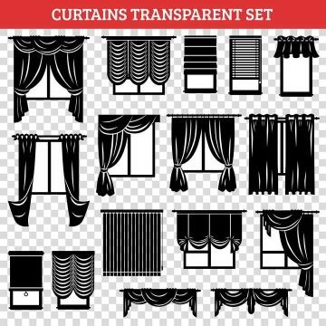 16款不同风格的黑白色窗帘家居类图片免抠素材