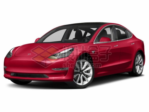 红色特斯拉Model 3电动汽车png图片素材