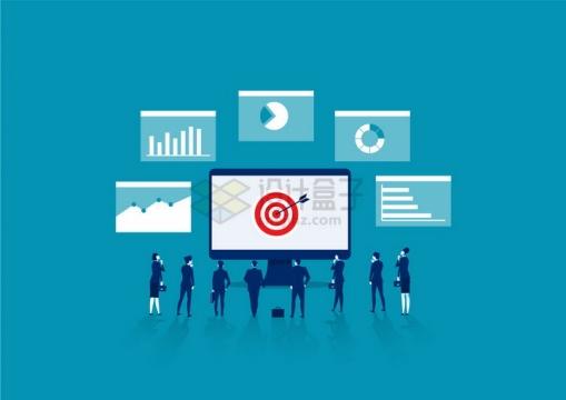 商务人士在电脑屏幕面前制定目标和统计数据png图片免抠矢量素材