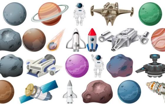 卡通风格的星球火箭宇宙飞船天文科普图片免抠素材