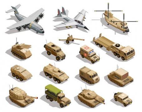 2.5D风格运输机战斗机支奴干直升机自行火炮坦克火箭发射车等沙漠涂装的武器装备图片免抠矢量素材