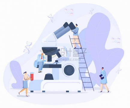 爬梯子看显微镜的科学家扁平插画png图片免抠矢量素材